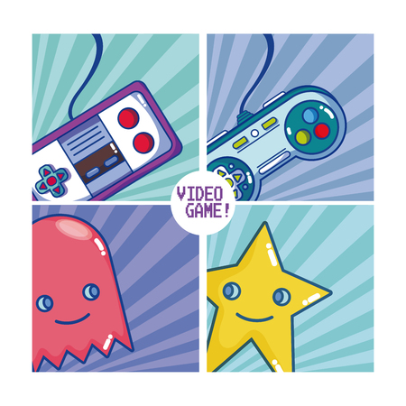 Retro videogame character and gamepads vector illustration graphic design