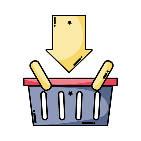 shopping basket sale with arrow down Illustration