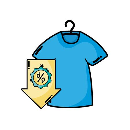 A t-shirt and down arrow with percent label vector illustration