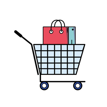 Shopping cart with market bag vector illustration Çizim