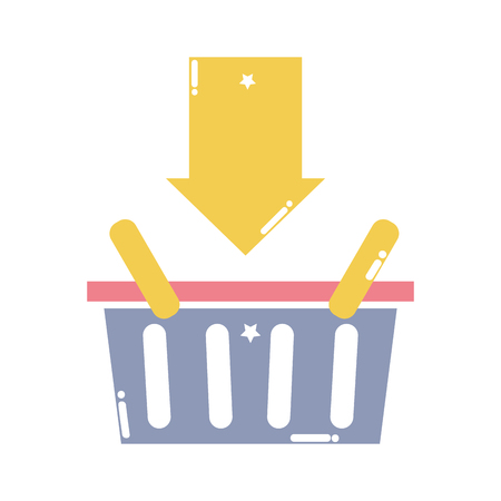 colorful shopping basket sale with arrow down