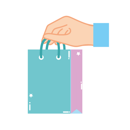 colorful hand with shopping bag market shop