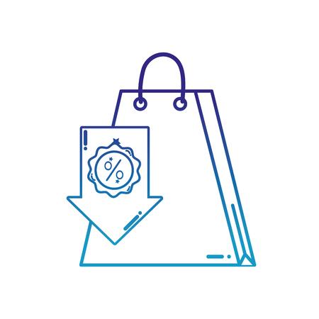 degraded line shopping bag market with arrow label percent Illustration