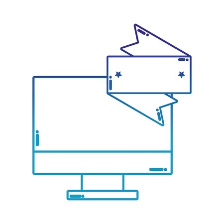 degraded line electronic computer screen technology with label Illustration