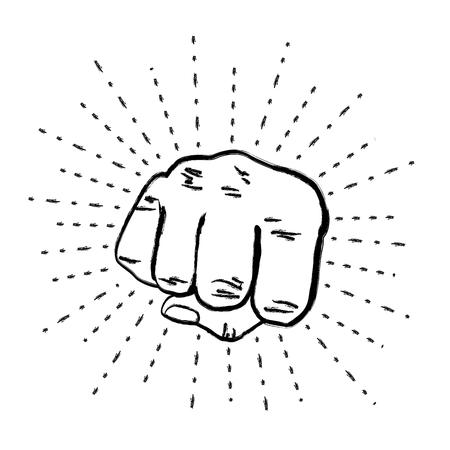 Grunge person hand oppose demonstration revolution 向量圖像