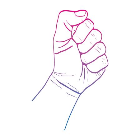 degraded line person hand oppose protest revolucion vector illustration 向量圖像