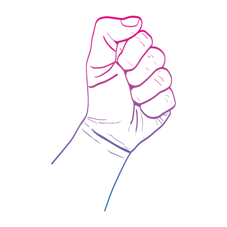 degraded line person hand oppose protest revolucion vector illustration Illustration