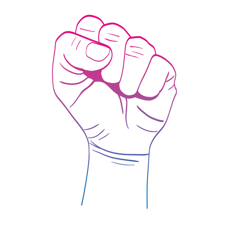 degraded line person hand up oppose protest vector illustration Illustration