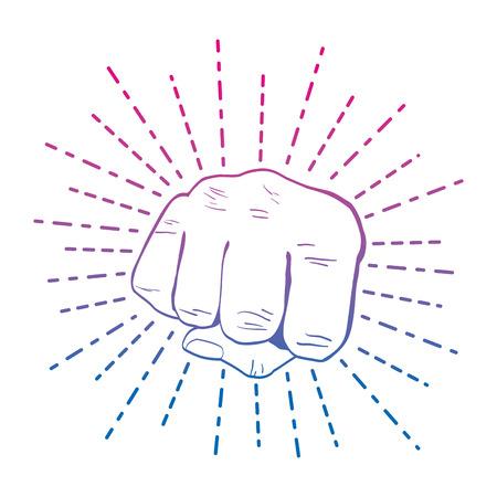 degraded line person hand oppose demonstration revolution vector illustration Illustration
