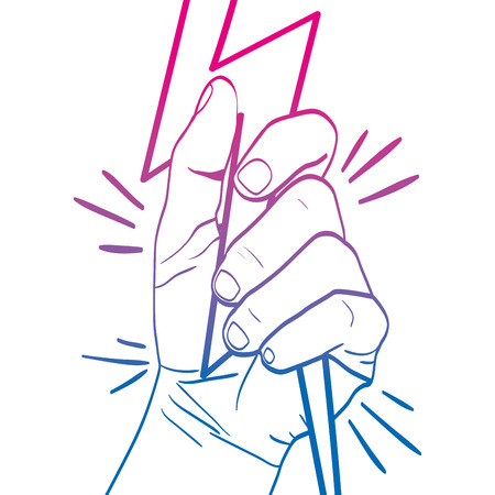 degraded line person hand oppose with ray protest vector illustration