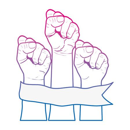 línea degradada personas manos arriba protesta protesta vecctor ilustración Ilustración de vector