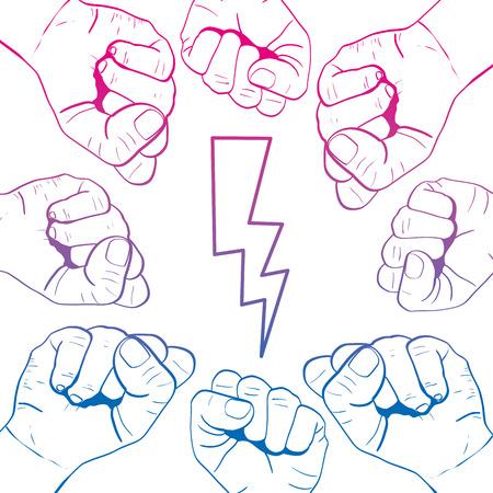 degraded line people opposive hands together protest vector illustration Illustration