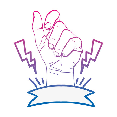 degraded line person hand oppose with rays and ribbon vector illustration