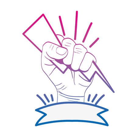 degraded line person hand revolution with ray and ribbon vector illustration