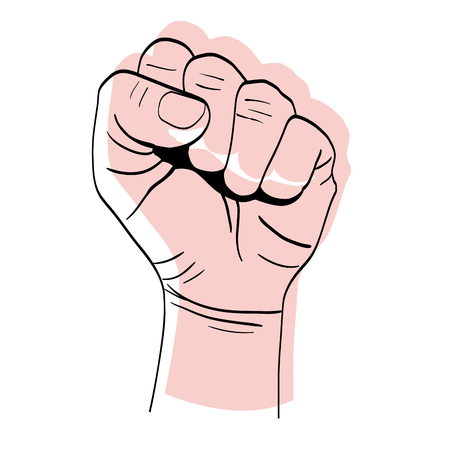 moved color person hand up oppose protest vector illustration Illustration