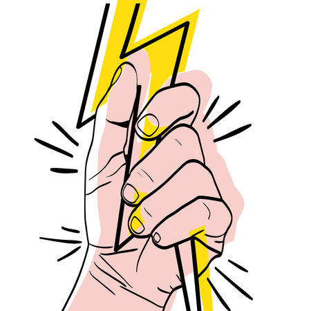 moved color person hand oppose with ray protest vector illustration