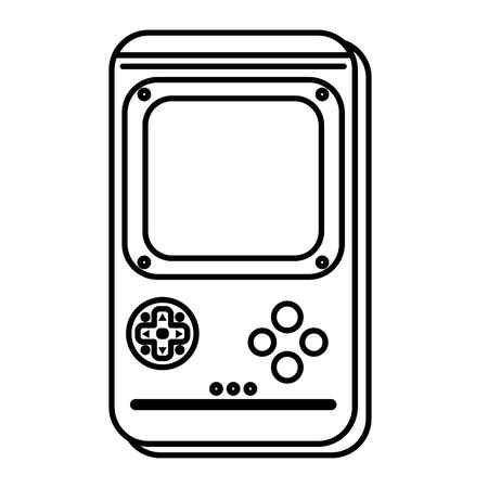 line gamepad technology electronic console design vector illustration