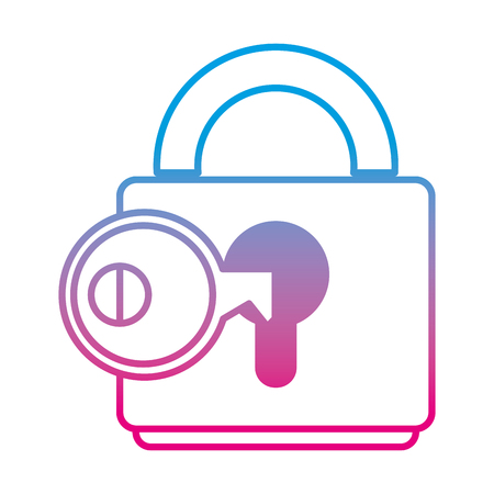 Degraded line key object inside close padlock security