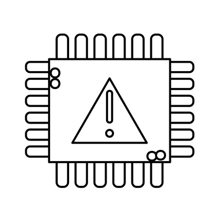 Line chip circuit with exclamation and attention sign