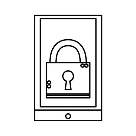 Line close padlock object inside smartphone technology Illustration