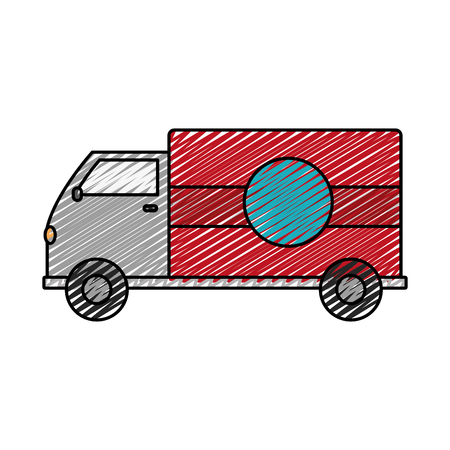 Doodle truck transportation delivery service vehicle