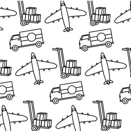 Line truck and airplane transport vehicle background vector illustration