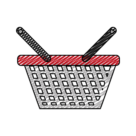 Doodle shopping basket icon to commerce market sale vector illustration Çizim