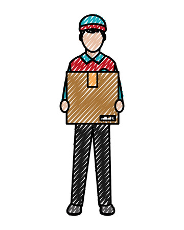 Doodle man delivery courier with box service