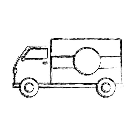 grunge truck transportation delivery service vehicle vector illustration Ilustrace