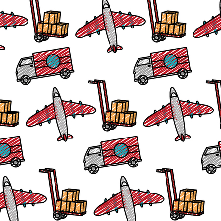 doodle truck and airplane transport vehicle background vector illustration Illustration