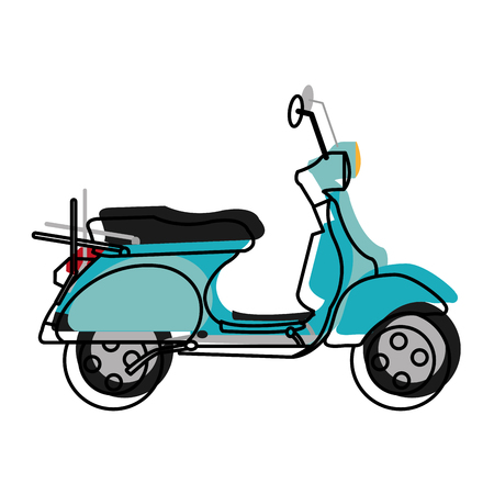 moved color motocycle transportation travel with mirror and wheels vector illustration