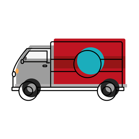 moved color truck transportation delivery service vehicle vector illustration Illustration