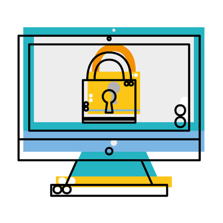 moved color padlock security object inside computer technology vector illustration