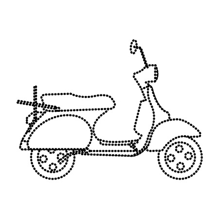 dotted shape motocycle transportation travel with mirror and wheels vector illustration