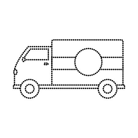 dotted shape truck transportation delivery service vehicle vector illustration