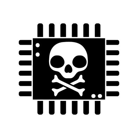 silhouette danger skull with bones inside chip circuit Vector illustration.