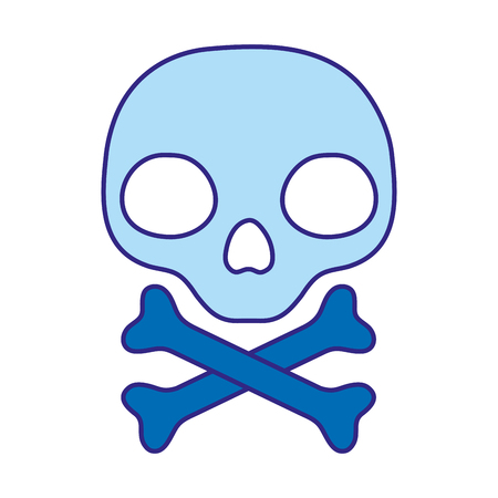 duo color warning skull and bones danger sign Vector illustration.