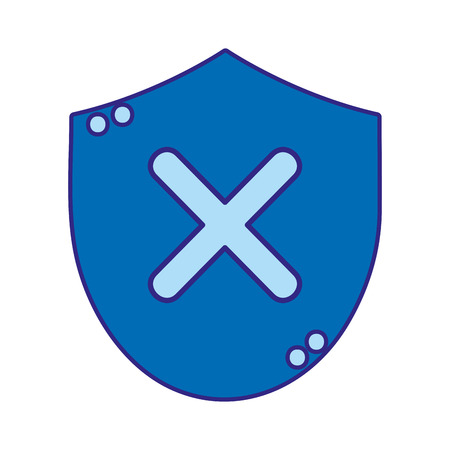 duo color bad shield security protection sign Vector illustration.