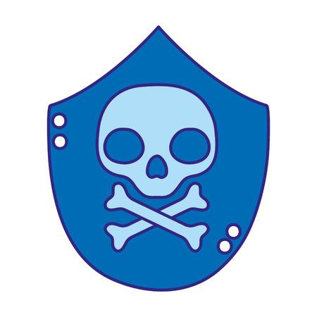 duo color skull with bones death danger symbol Vector illustration.
