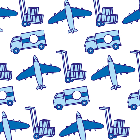 duo color truck and airplane transport vehicle background Vector illustration.