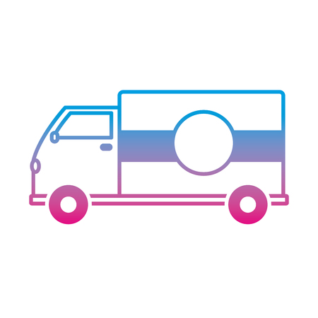 degraded line truck transportation delivery service vehicle Vector illustration.