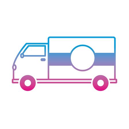 degraded line truck transportation delivery service vehicle Vector illustration.
