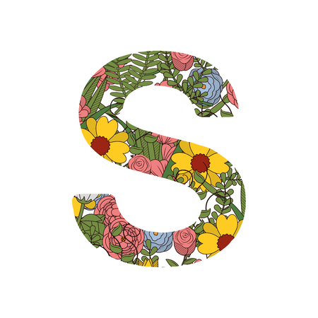 Letter S nature font designed with colorful flowers. Vector illustration isolated on white background.