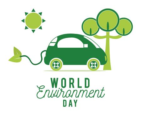 World environment day design vector illustration graphic design with green car, sun, tree.