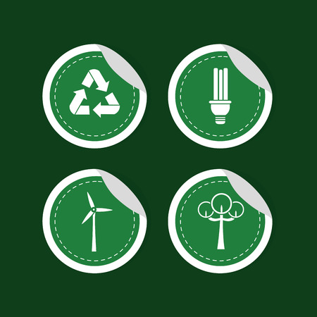Green energy round stickers collection Illustration