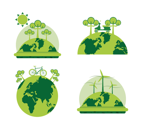 Green energy collection iconic symbol vector illustration