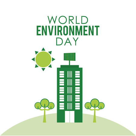 World environment day with green building iconic symbol isolated vector illustration