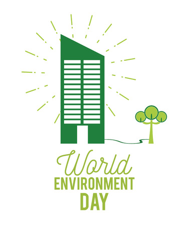 World environment day with green building and tree isolated vector illustration