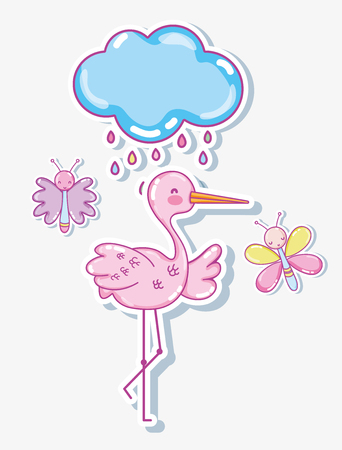 Cute stork with butterflies cartoons Illustration