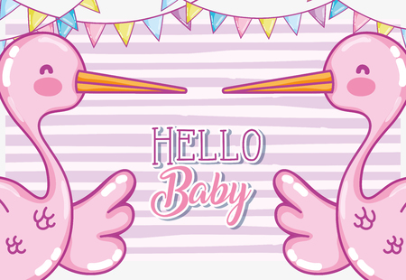 Hello baby shower card Vectores